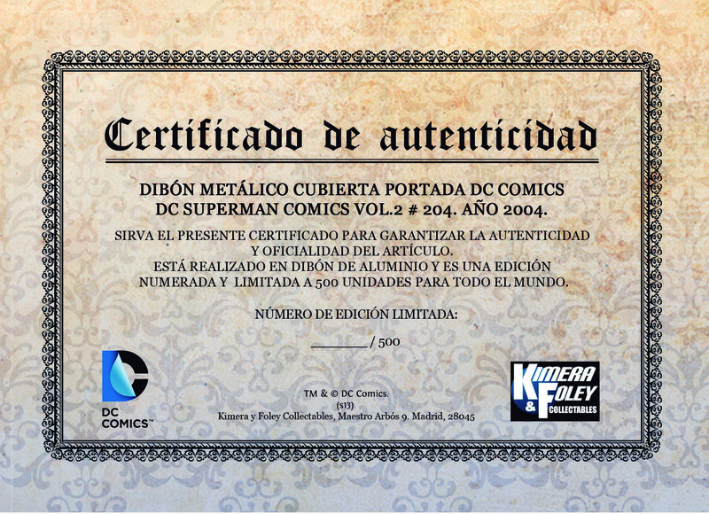 DC Comics Steel Covers Dibón metálico DC Superman Comics Vol. 2 #204 2004 17 x 26 cm
