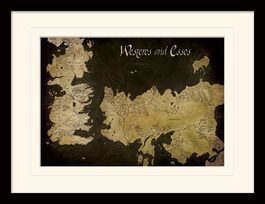 Game of Thrones (Westeros and Essos Antique Map) Mounted & Framed 30 x 40cm Print